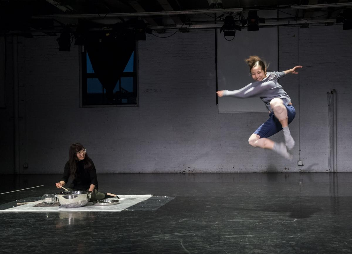 "Dancers perform in Meryem's show ""Solo (not solo) water study"""