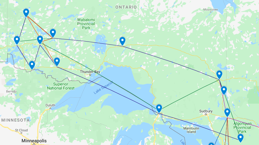 Map of Northern Ontario tour locations